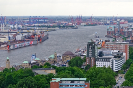 The Port of Hamburg, view from the St Michael s church photo
