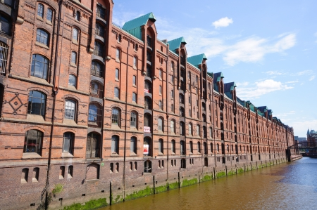 Warehouse district and the Port of Hamburg Stock Photo - 23164497