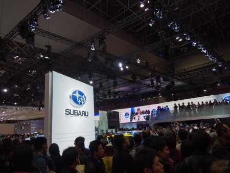 TOKYO, JAPAN - November 23, 2013  Booth at Subaru The Tokyo Motor Show is a biennial auto show at the Tokyo Big Sight in Odaiba, Tokyo for cars, motorcycles and commercial vehicles  The Show is the biggest auto show in Asia, and a one of the motorshow�s b