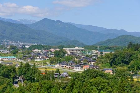 chubu: Landscape of Achi village in Southern Nagano, Japan Stock Photo