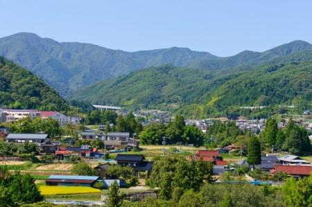 Landscape of Achi village in Southern Nagano, Japan Standard-Bild