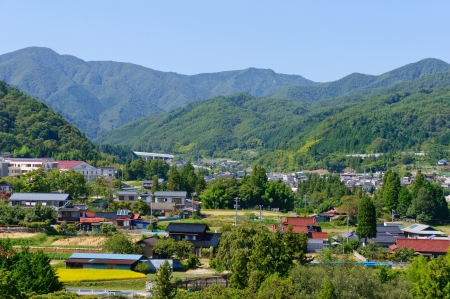 Landscape of Achi village in Southern Nagano, Japan Archivio Fotografico