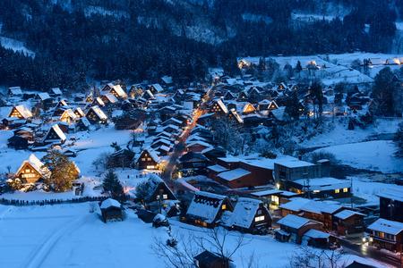 magic hour: Historic Village of Shirakawa-go in winter