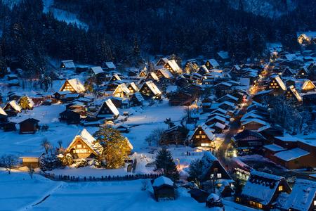 Historická vesnice Shirakawa-go v zimě