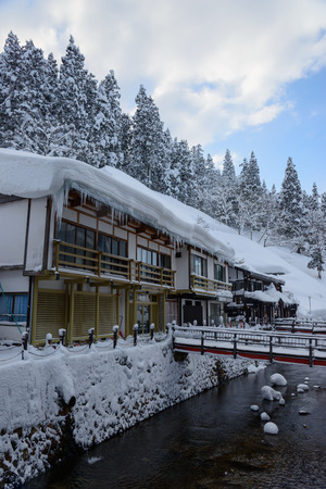 historic district: Historic District of Ginzan-onsen in winter