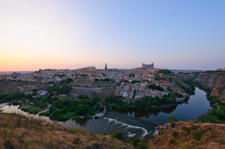 The historic city of Toledo at dusk in Spain