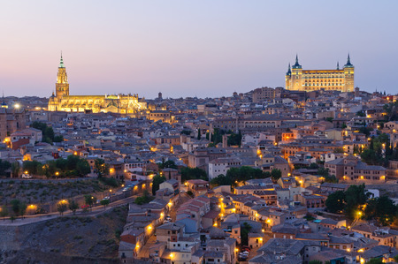 Night view of the historic city of Toledo in Spain