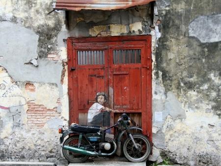 penang: Street art in Penang Stock Photo