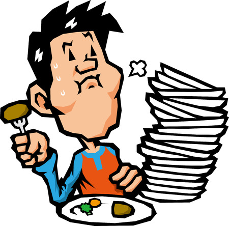 greedy: overeating Illustration
