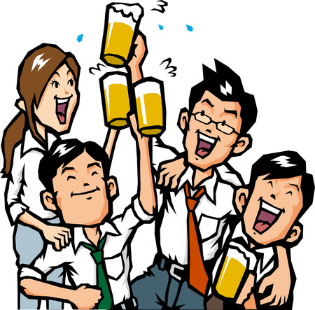 beer and necktie: Drinking session Illustration