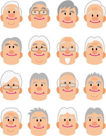 old people: Asia middle-aged face