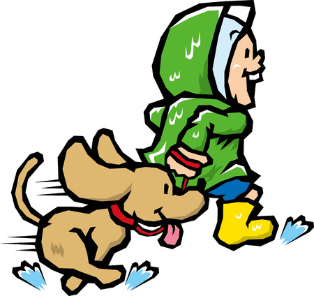 running with dog Illustration