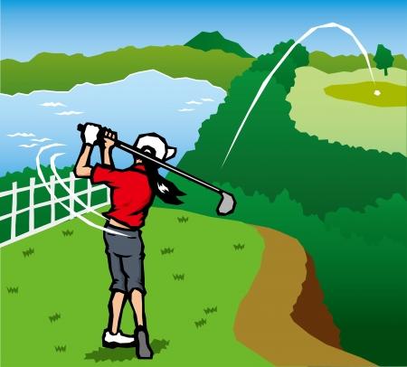 Golf scenery  Illustration