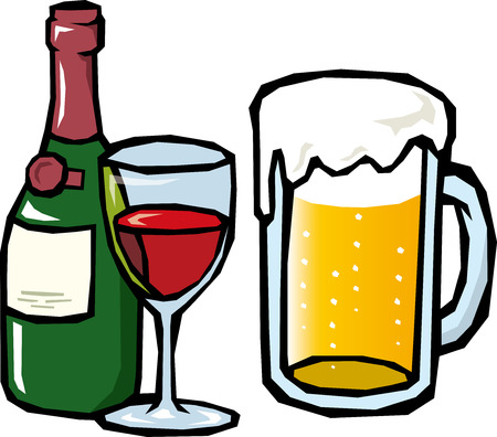 draft beer: Beer and wine  Illustration