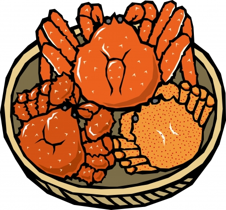 crab pot: Assorted crab Illustration