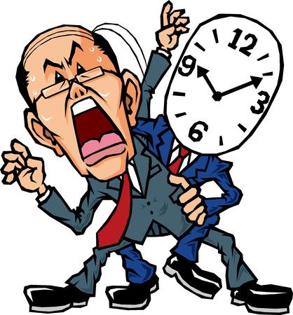 Vader zakenman door de tijd gebonden te zijn