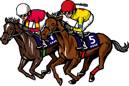 caballos corriendo: Carreras de caballos Vectores