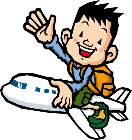 homecoming: Boy riding on an airplane