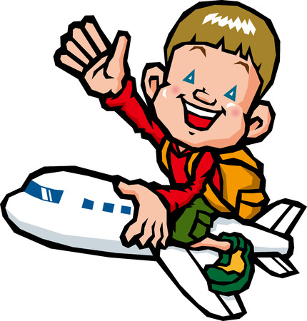 Boy riding on an airplane