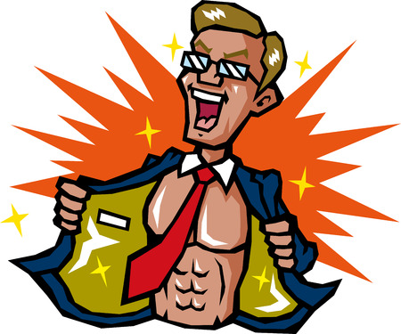 Businessman to show off the muscle