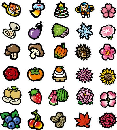 persimmon: Flores verduras comida icono colección