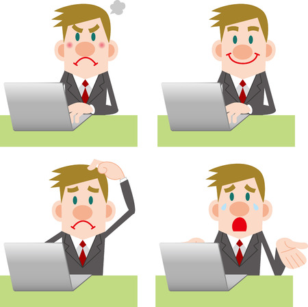 systemic: Businessman computer Pose Collection Illustration