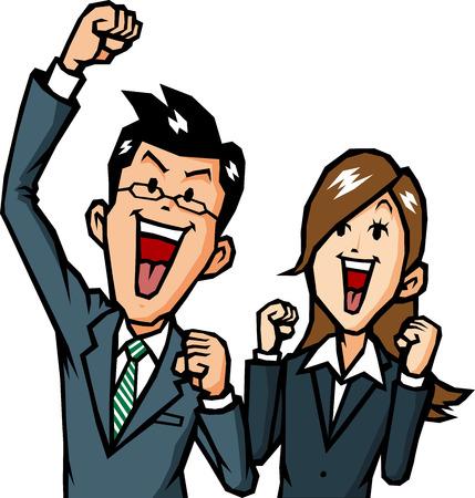 hombres de negocios: Los hombres de negocios se regocijan