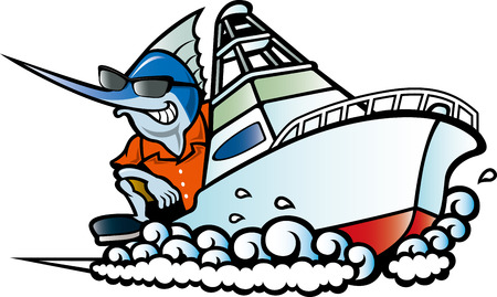 Swordfish riding a boat