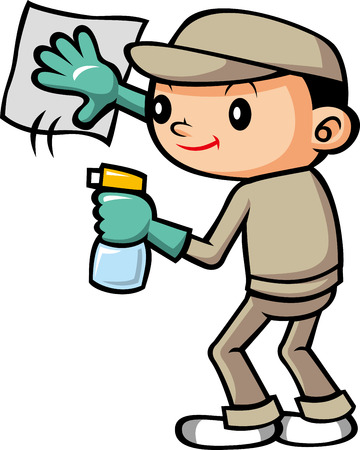 wiping: Cleaning staff Illustration