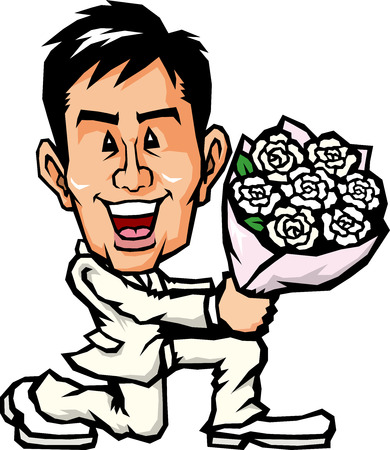 courtship: Men who present a bouquet and with one knee Illustration