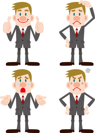 embarrassment: Businessman Pose Collection Illustration
