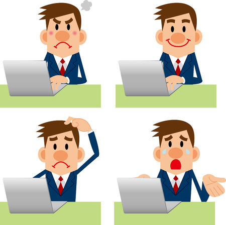 angry teacher: Businessman computer Pose Collection Illustration