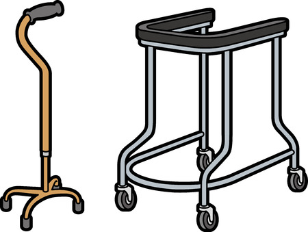 welfare: walking equipment Illustration