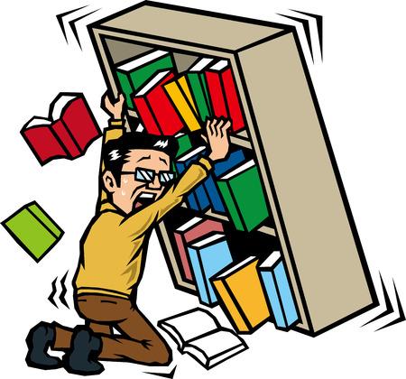 지진으로 책장을 유지하는 사람들