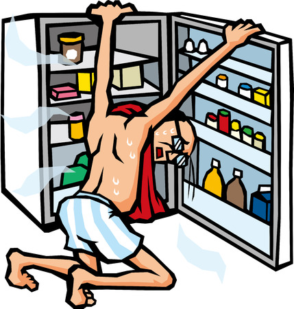 cool off: Open the refrigerator to cool off Illustration