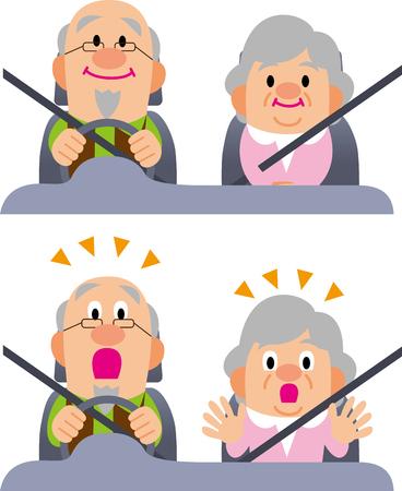 高齢者の運転  イラスト・ベクター素材