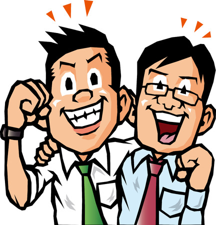 work together: Businessman Crossed shoulder Illustration