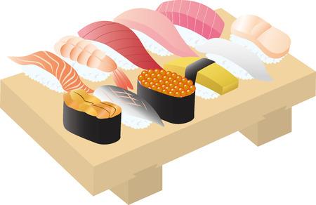 scallops: sushi Illustration