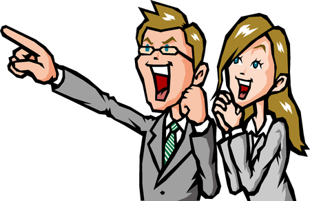 new employees: Businessman rejoice Illustration