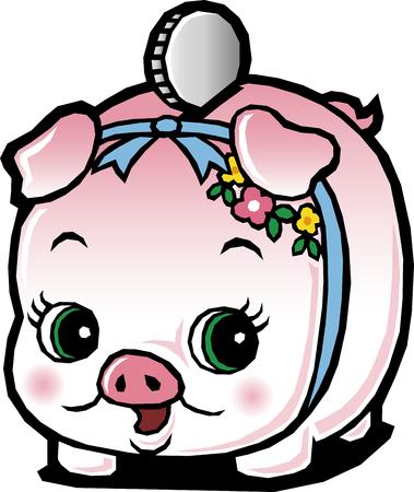 china business: Piggy bank pig Illustration