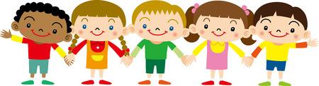 Holding Hands children Illustration