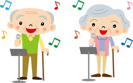 Elderly to karaoke Illustration