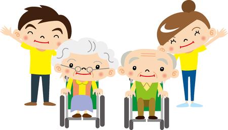 高齢者・介護看護師  イラスト・ベクター素材