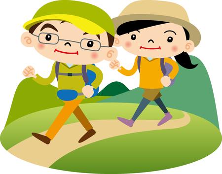 asian man smiling: hiking Illustration