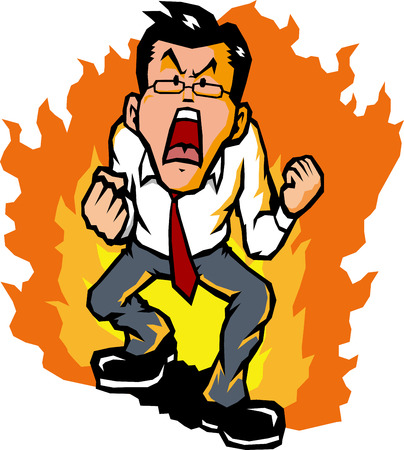 bellow: Hot-blooded businessman Illustration