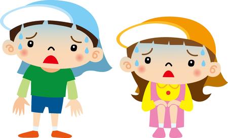 niños pobres: Los niños pobres de la condición física Vectores
