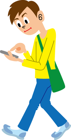 walk away: Man fiddling with a mobile phone while walking