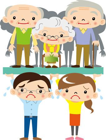 젊은 사람들은 노인을 지원 스톡 콘텐츠 - 66002811
