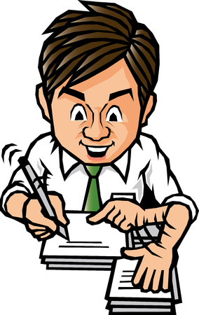backlog: Man to write a document Illustration