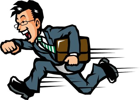 Businessman running with a smile